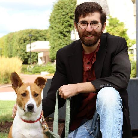 photograph of Benjamin Zinszer and his dog Penny