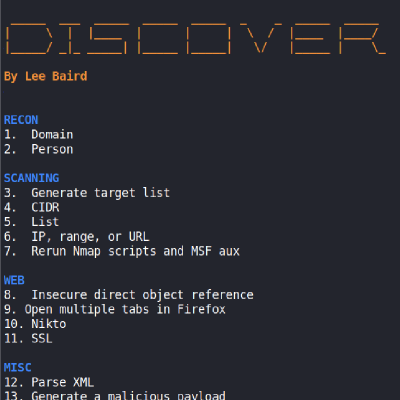 GitHub - leebaird/discover: Custom bash scripts used to